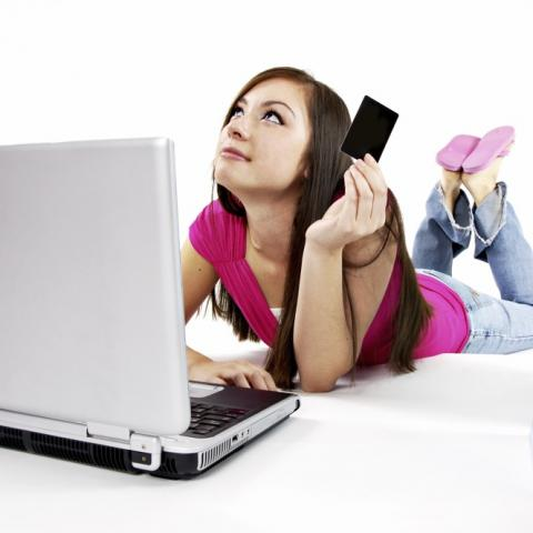 Female shopping online